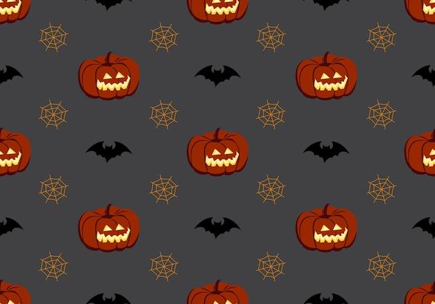 Patrón transparente brillante con calabazas, murciélagos y arañas, decoración festiva de otoño para halloween, h ...
