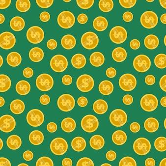Patrón transparente brillante con dólares de monedas de oro