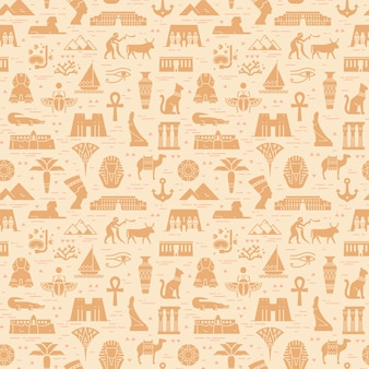 Patrón transparente brillante de símbolos, hitos y signos de egipto