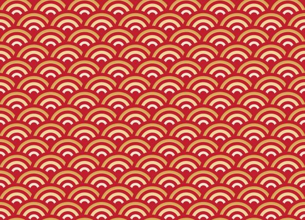 Patrón transparente chino oro y ola roja