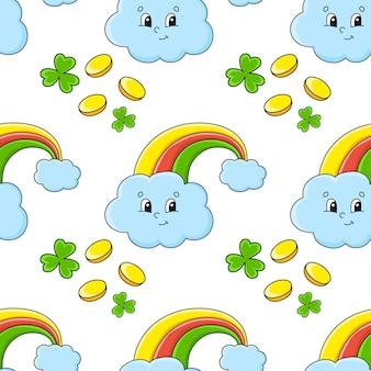 Patrón transparente de color arco iris mágico. día de san patricio.