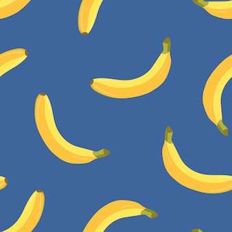 Patrón transparente de color brillante con plátanos maduros amarillos sobre fondo azul. frutas tropicales exóticas frescas. ilustración colorida para papel de regalo, papel tapiz, telón de fondo, impresión textil.