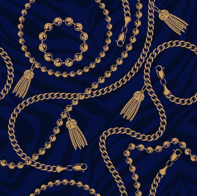 Patrón transparente de color de cadenas sobre un fondo oscuro. el fondo está en un grupo separado. ideal para imprimir sobre tela.