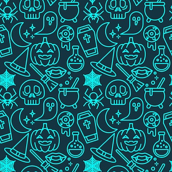 Patrón transparente de color neón de halloween para papel tapiz, papel de regalo, estampados de moda, tela, diseño.