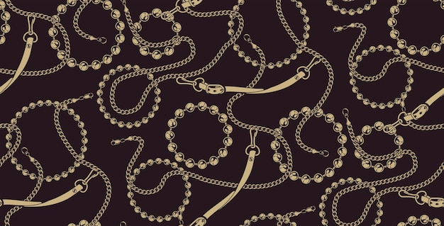 Patrón transparente coloreado de cadenas sobre el fondo oscuro. ideal para imprimir sobre tela.