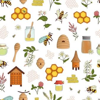 Patrón transparente coloreado de miel, abeja, abejorro, colmena.