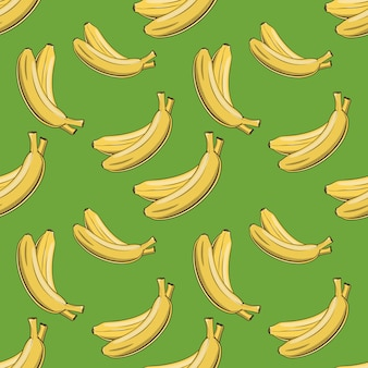 Patrón transparente coloreado con plátanos en estilo vintage