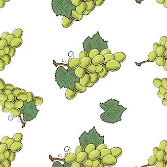 Patrón transparente coloreado con uvas verdes en estilo vintage