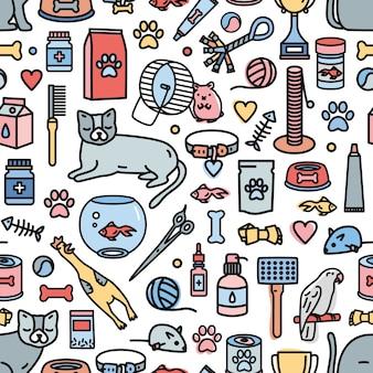 Patrón transparente de colores con animales domésticos y herramientas para el cuidado de mascotas, entretenimiento, aseo