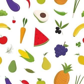Patrón transparente de colores brillantes con frutas y verduras sobre fondo blanco.