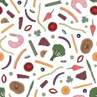 Patrón transparente de colores con comida en rodajas