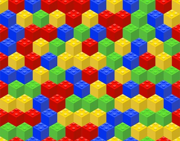 Patrón transparente de colores de cubos de plástico.