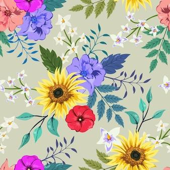Patrón transparente de colores con diseño floral botánico.