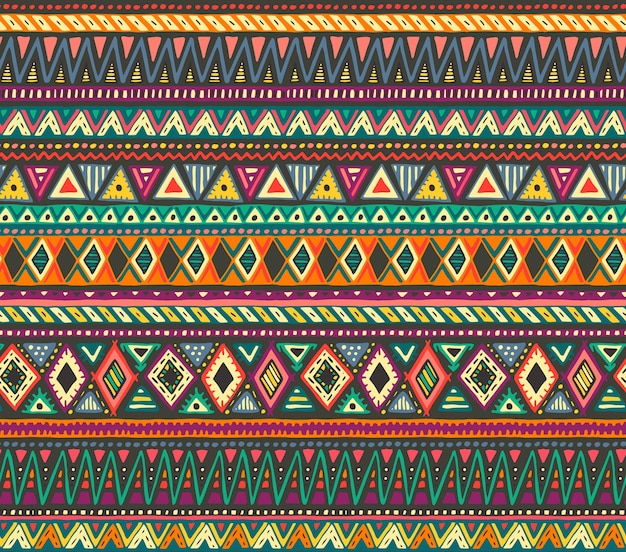 Patrón transparente de colores con elementos étnicos dibujados a mano