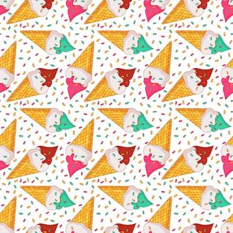 Patrón transparente de colores con helado en conos de galleta. fondo de verano.