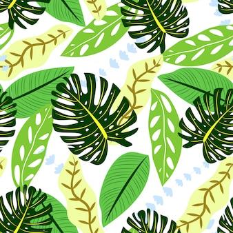 Patrón transparente de colores con hojas tropicales verdes