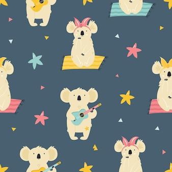 Patrón transparente de colores con lindos koalas. diseño brillante para ropa. tarjetas de felicitación, caja esencial, papel de regalo