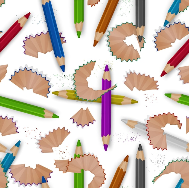 Patrón transparente de colores sobre un tema escolar con lápices de colores y virutas de lápiz.