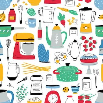 Patrón transparente de colores con utensilios de cocina en blanco