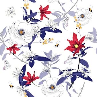Patrón transparente de coloridas flores florecientes