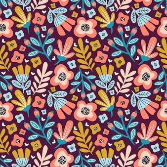 Patrón transparente colorido brillante flor y follaje