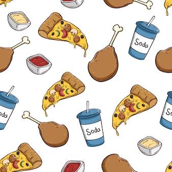 Patrón transparente de comida chatarra con pizza soda y pata de pollo