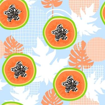 Patrón transparente contemporáneo con papaya. alimentación saludable.