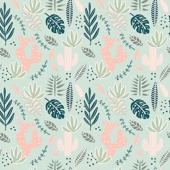 Patrón transparente creativo abstracto con plantas tropicales.
