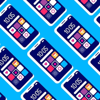 Patrón transparente creativo con repetición de teléfono móvil sobre fondo azul.