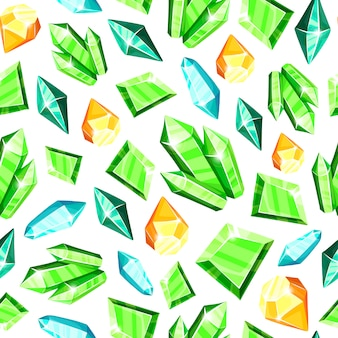 Patrón transparente de cristal: azul, dorado, rosa, violeta, cristales de arco iris o gemas de colores sobre fondo blanco,