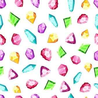 Patrón transparente de cristal: cristales o gemas de colores azul, dorado, rosa, violeta, arcoiris