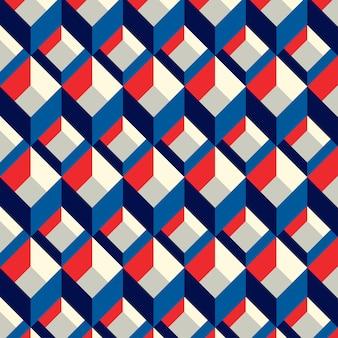 Patrón transparente cuadrado azul y rojo