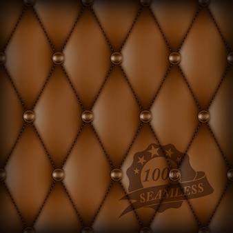 Patrón transparente de cuero de lujo abotonado marrón.