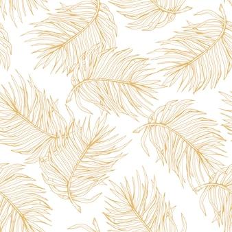 Patrón transparente dibujado a mano línea oro hojas de palma