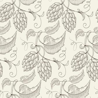 Patrón transparente de dibujo botánico natural abstracto