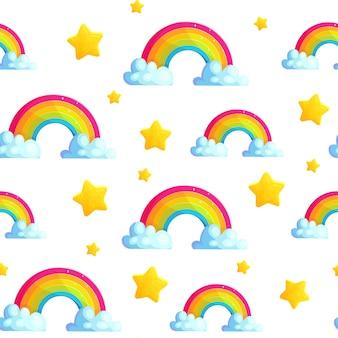 Patrón transparente de dibujos animados arco iris con estrellas y nubes.