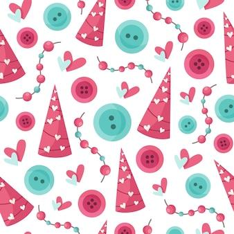 Patrón transparente de dibujos animados del día de san valentín - guirnalda de san valentín para niños lindos, perlas, botón en color rosa y menta