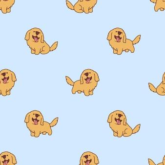 Patrón transparente de dibujos animados lindo cachorro golden retriever