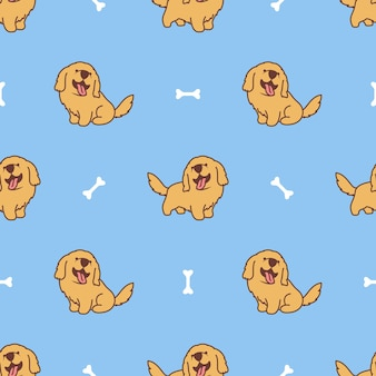 Patrón transparente de dibujos animados lindo perro golden retriever
