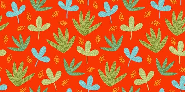 Patrón transparente divertido brillante con hojas abstractas