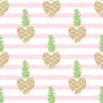 Patrón transparente editable y recortado con piñas de brillo dorado sobre fondo de rayas rosa para el verano, romántico.