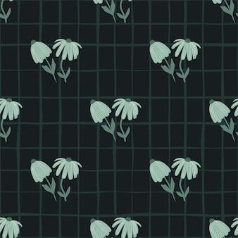 Patrón transparente de flor oscura con adornos estilizados.