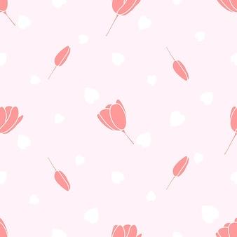 Patrón transparente de flor de tulipán de color suave
