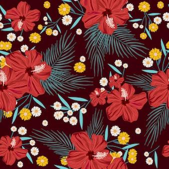 Patrón transparente de flor de verano rojo, amarillo y blanco
