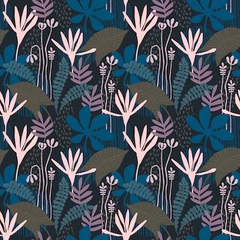 Patrón transparente floral abstracto con texturas dibujadas a mano de moda. diseño abstracto moderno