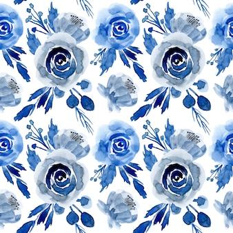 Patrón transparente floral acuarela azul