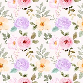 Patrón transparente floral acuarela colorida