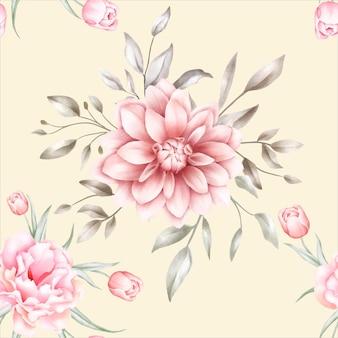 Patrón transparente floral acuarela elegante