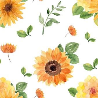 Patrón transparente floral acuarela girasol