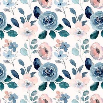 Patrón transparente floral acuarela melocotón azul